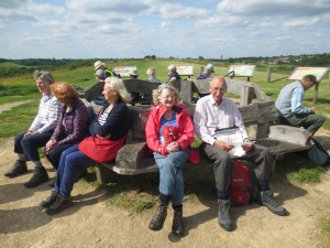John Allinson, Trustee Vanessa Bowtell and other walkers on Farthing Down